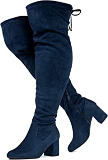Women's Over The Knee Block Chunky Heel Stretch Boots (Medium and Wide Calf)