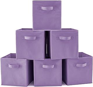 EZOWare Boîtes de Rangement Ouvertes en Textile Non-Tissé, Tiroir en Tissu, Pack de 6, pour Linge, Jouets, Vêtement, Disqu...