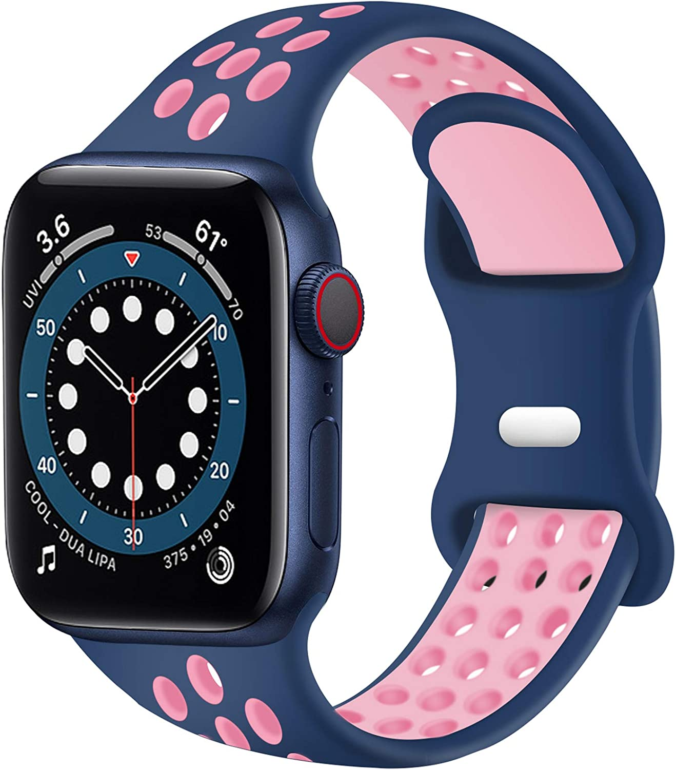 SVISVIPA Sport Bands Compatible for Apple Watch Bands 38mm 40mm 41mm,Breathable Soft Silicone Sport Women Men Replacement Strap Compatible with iWatch SE & Series 7/6/5/4/3/2/1,Blue Pink