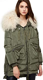 ANNA&CHRIS Womens Down Jacket Warm Winter Parka Thicken Coat with Curly Wool Trim Hood