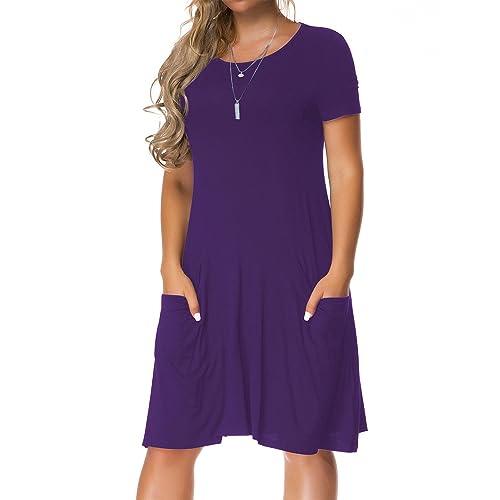 2b78f03861 VERABENDI Womens Long Sleeve Casual Loose T-Shirt Swing Pocket Dress Royal  Blue XL Clothing