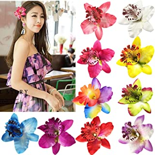10 Pieces Women Chiffon Flowers Hair Clips Butterfly Orchid Alligator Clips for Bridal Wedding Accessory Beach Party Weddi...