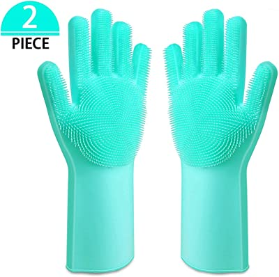 VG Silicone Scrubbing Cleaning Gloves for Dish Washing car Washing Bathroom Cleaning (Multi Color 1 Pair)
