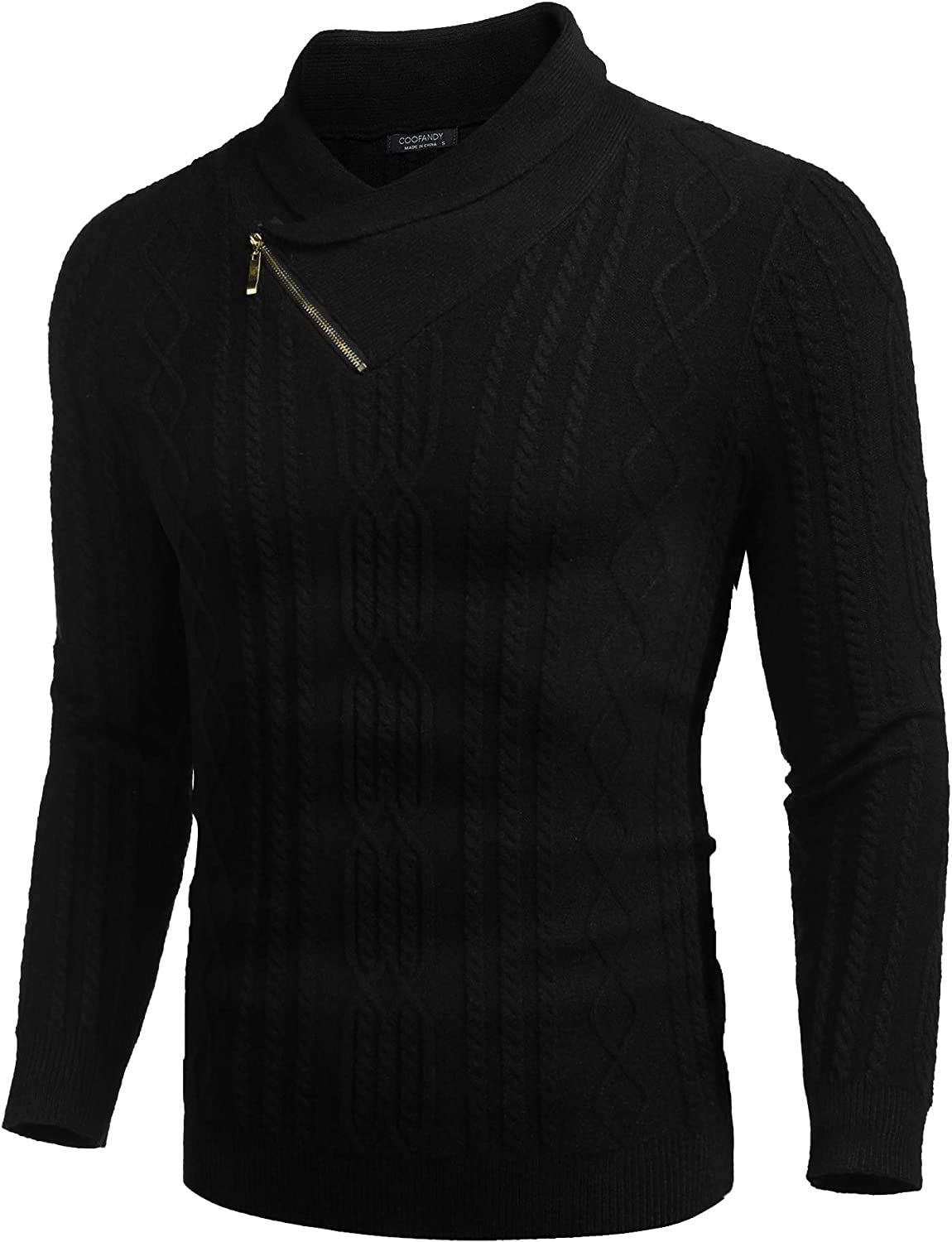 COOFANDY Men's Shawl Collar Sweater Slim Fit Casual Cotton Zip Pullover Cable Knitted Sweaters