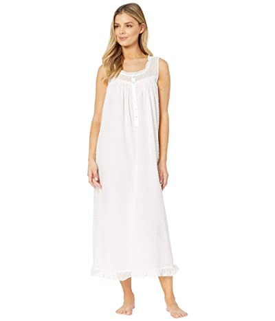 Eileen West Cotton Swiss Dot Woven Sleeveless Ballet Nightgown (White) Women