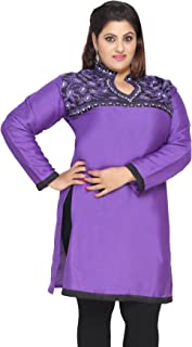 Women's Embroidered Long Plus Size Poly Silk Sequins Indian Kurtis Tunic Top