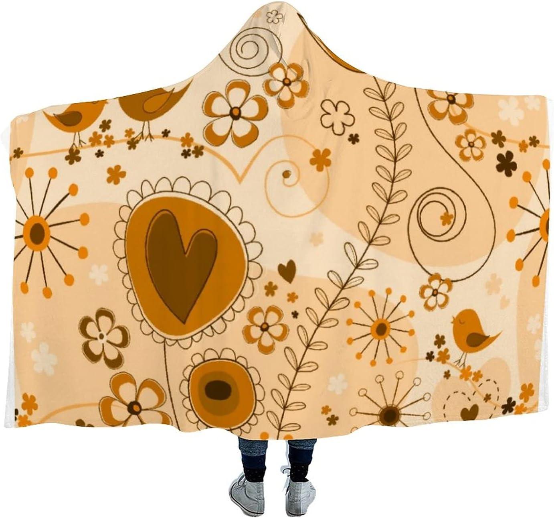 Max 74% OFF Whimsical [Alternative dealer] Garden in Orange Wearable Microfiber Hooded Th Blanket