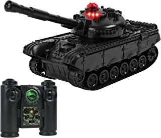 Click N' Play RC Battle Black Colored Tank Infrared Full Size Tank with LED Indicators Rotating Turret Detailed Designed R...