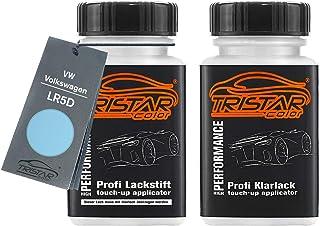 TRISTARcolor Autolack Lackstift Set für VW/Volkswagen LR5D Rave Blue Basislack Klarlack je 50ml
