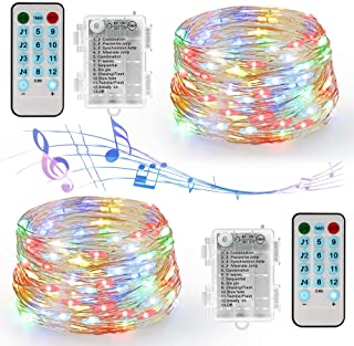 2 Pack 12 Modes Sound Activated Music Fairy Lights, Battery Operated 16.4Ft 50 LED Waterproof Silver Wire Fairy String Lights with Remote Timer for Bedroom Wedding Festival Indoor Decor(Multi-color)