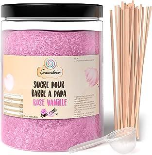Greendoso-Sucre Barbe à Papa Rose Vanille 1,2 Kg, Poudre Barbapapa pour Machine + 50 Bâtonnets de 30Cm (Offerts) + 1 Cuill...