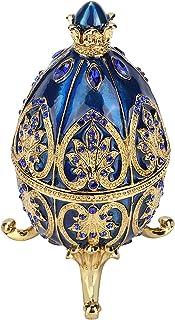 HERCHR Oeuf Fabergé, Boîte à Bibelot Oeuf de Pâques en Diamant Artificiel Organisateur de Bijoux Oeuf Faberge émaillé déco...