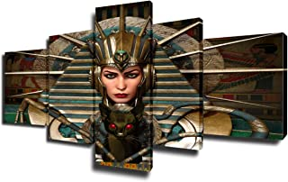 Bedroom Pictures Wall Decor 5 Piece Prints Wall Art on Canvas Metal Headgear Paintings Younger Egypt Female Artwork Gallery-Wrapped Contemporary House Decor Framed Stretched Ready to Hang(50''Wx24''H)