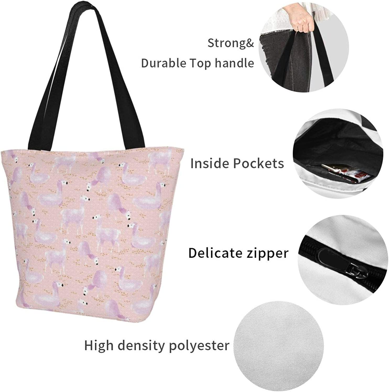 Pink Flamingo Llama Unique Themed Printed Women Canvas Handbag Zipper Shoulder Bag Work Booksbag Tote Purse Leisure Hobo Bag For Shopping