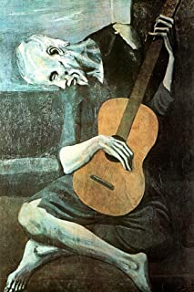 Pablo Picasso The Old Guitarist Art Print Cool Home Wall Art Decor Painting Replica Poster for Dorm Room Kitchen Artistic Decor Cubicle Locker Mini Art Poster 8x12