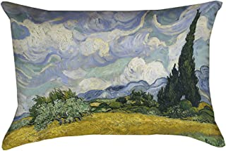 ArtVerse Vincent Van Gogh Wheatfield with Cypresses x (Pillow Cover Only) Pillow-Poly Twill Double Sided Print with Concealed Zipper, 14