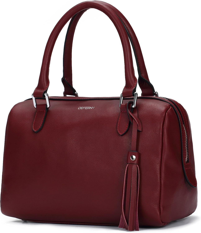 Deferny Women soft geniune Leather Tote Bag Handbag Shoulder Bag Top-handle Purse