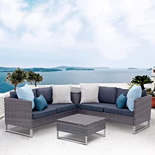 View & co Patio Sofa Patio Furniture Outdoor Sectional Furniture Set P.E Rattan Conversation Sets with Matching Waterproof Patio Cushions and Coffee Table (4 Set-Dark Blue & Gray)