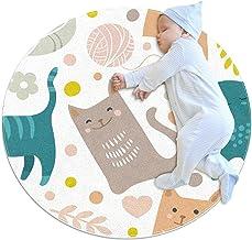 Brun blå kattunge, barn rund matta polyester överkast matta mjuk pedagogisk tvättbar matta barnkammare tipi tält lekmatta