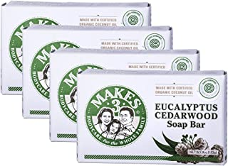 Makes 3 Organic Eucalyptus Cedarwood Soap Pack - Superfood for the Skin - 100% Handcrafted Organic Soap - Restores Positiv...