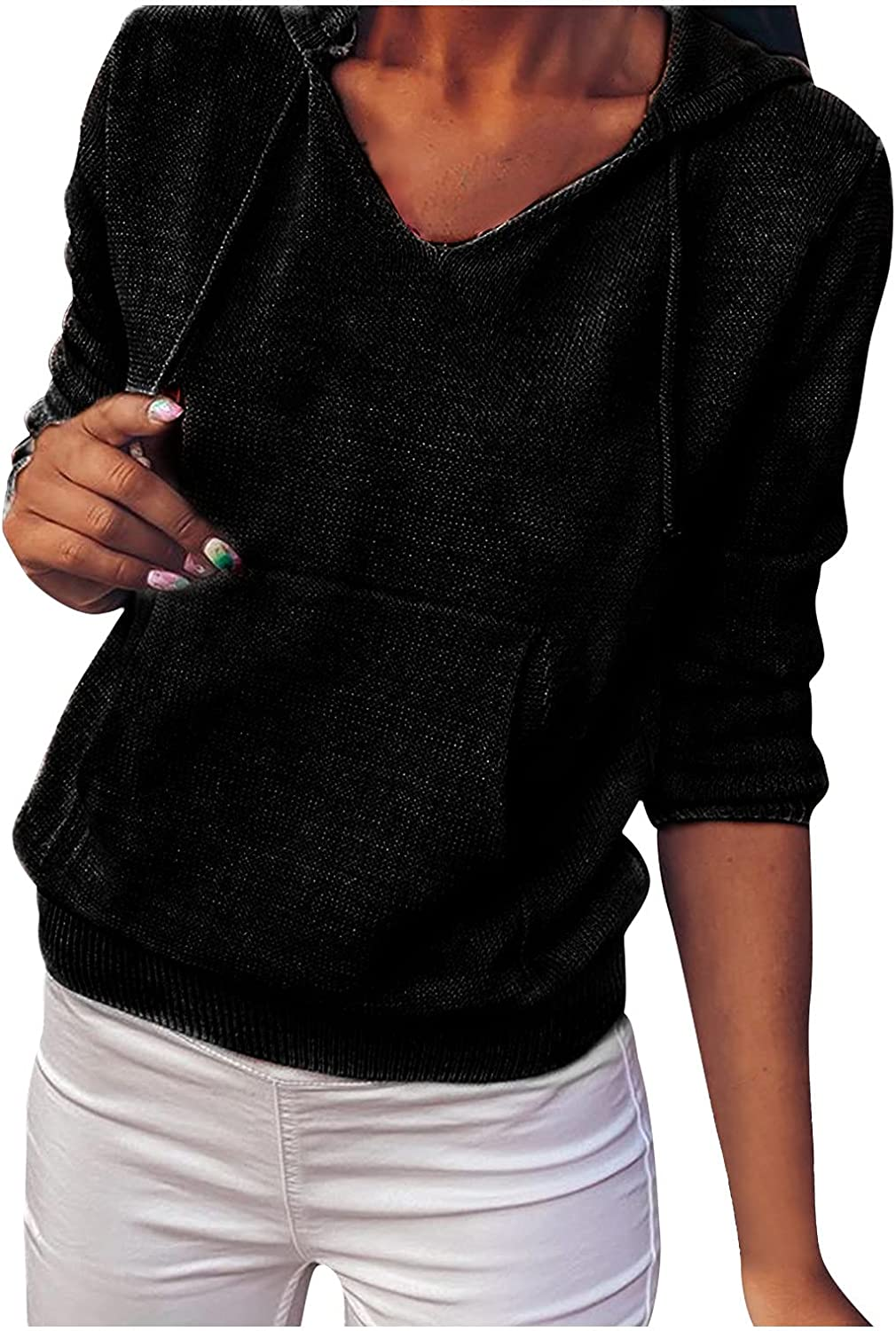 Women Fall Sweater Hoodie Solid Long Color Lightweight Pullover unisex mart