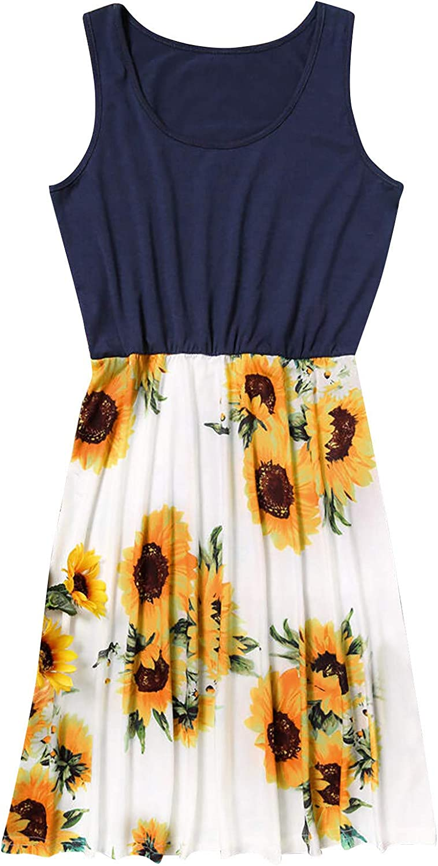 Lovor Summer O Neck Loose Sundress Dresses for Women Casual Floral Sleeveless Sunflower Print Pleate Beach Short Dress