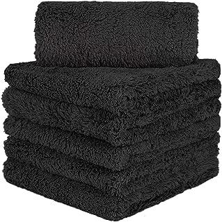 CARCAREZ Edgeless Microfiber Towels, Professional 70/30 Blend 450 GSM Dual-Pile Microfiber Auto Detailing Towel, 16x16 inch, Pack of 6 (Black)
