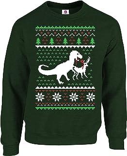 Graphic Impact Christmas Dinosaur Killing Reindeer Ugly Full Sleeve Jumper Printed Sweatshirt