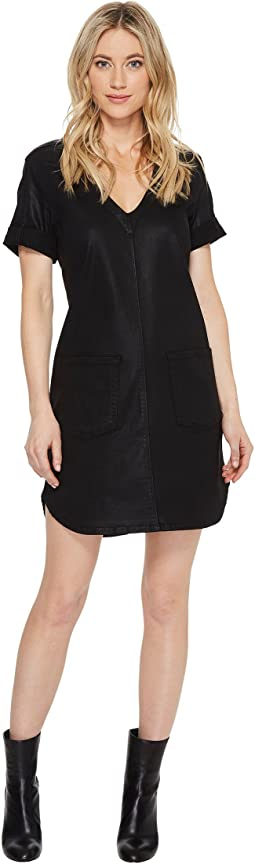 Short Sleeve Popover Dress in Coated Black