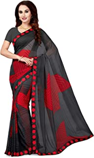 Ishin Poly Georgette Black Printed Women's Saree/Sari With Lace