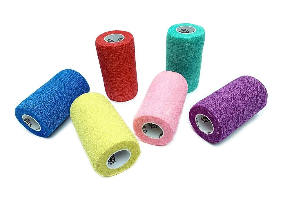WildCow Vet Wrap Bulk, Bandage Wrap Vet Tape (2, 3 or 4 Inch), Assorted Colors (Pack of 6 or 18), Waterproof Self Adherent