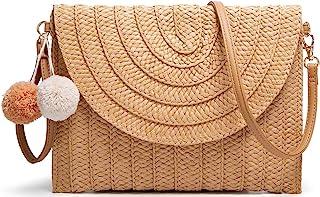 حقيبة يد نسائية بمقبض من القش البوهيمي الصيف شاطئ البحر محفظة وحقيبة يد
