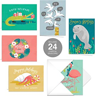 Coastal Holiday Wishes Christmas Cards / 24 Holiday Cards with Matching Envelopes