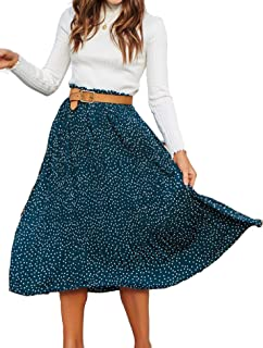 Women's Flared Skirt High Elastic Waist Polka Dot Pleated Midi Vintage Skirt