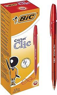 BIC Cristal Clic chowane długopisy czerwone 20 pudełko