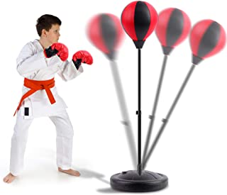 FiGoal Punching Bag for Kids Boxing Set Adjustable Stand with Strong Spring and 1 Pair of Boxing Gloves, Toys Gifts for Ag...