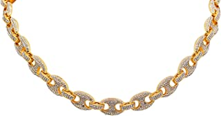 Yellow Gold-Tone Iced Style Bling Hip Hop Staggered Full Pave Crystal Stones 24