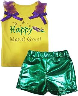 Petitebella Girls' Happy Mardi Gras Mask Cotton Shirt Green Bling Short Set