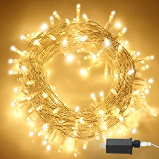 Aluan Christmas Lights String Lights 100 LED 33ft+10ft 8 Modes Plug in Indoor String Lights 31V Waterproof Fairy Lights Home Garden Party Wedding Christmas Tree Bedroom Window Curtain Decoration