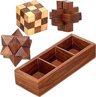 SKAVIJ Handmade Wooden 3-in-1 Puzzle Set with Storage Tray (Brown)