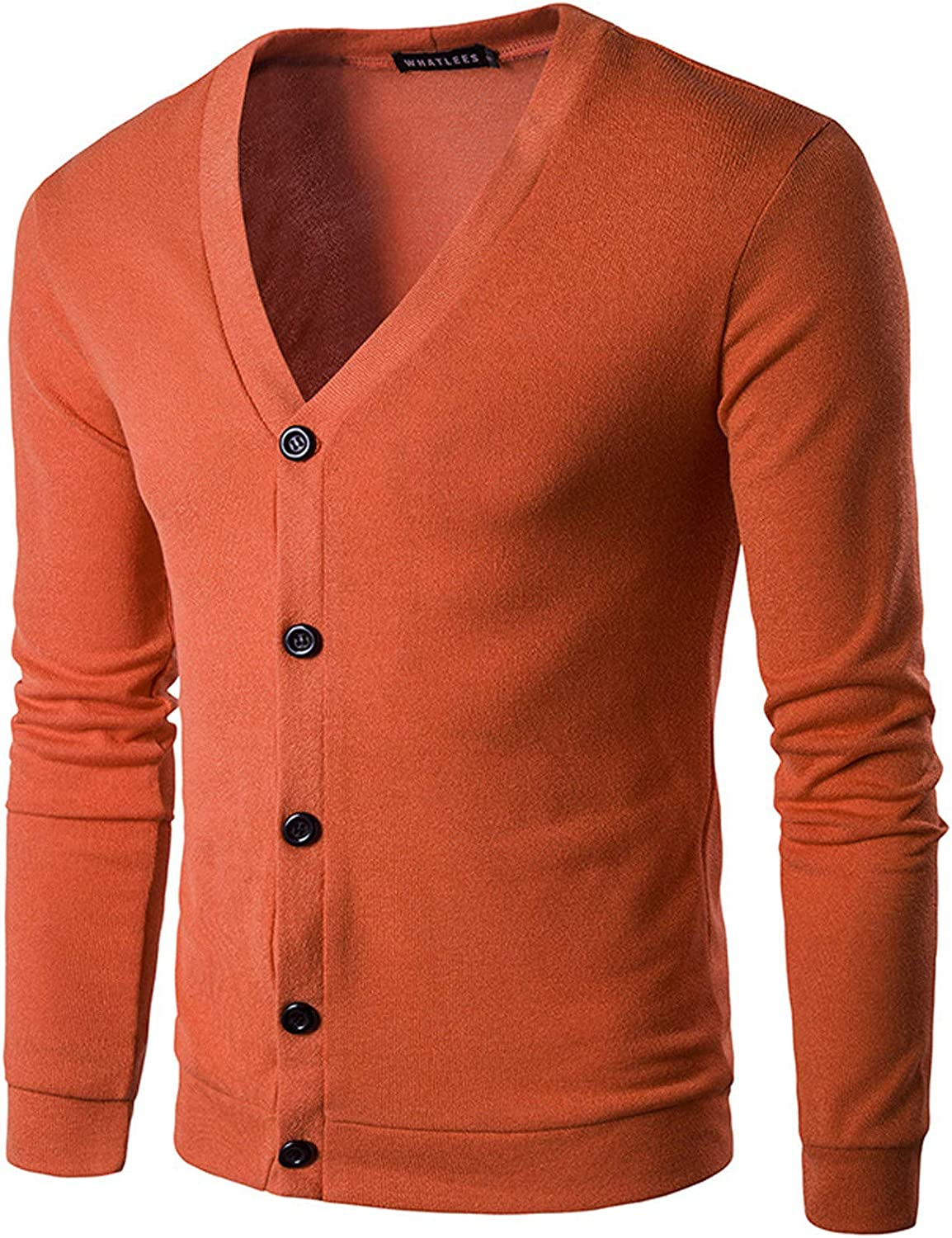 Men's Cashmere Wool Blended Cardigan Solid Color Sweater Relax Fit V Neck Knitted Button Down Cardigan with Pockets