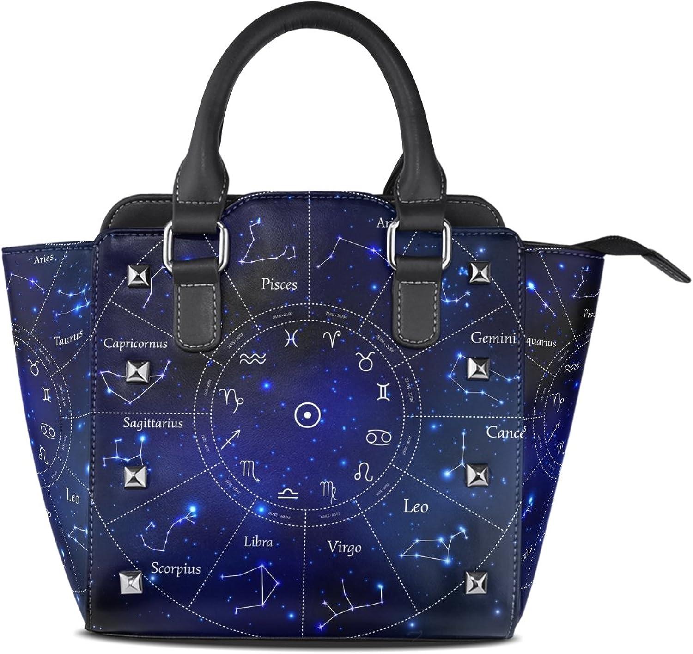 My Little Nest Women's Top Handle Satchel Handbag Twelve Constellations Map Ladies PU Leather Shoulder Bag Crossbody Bag