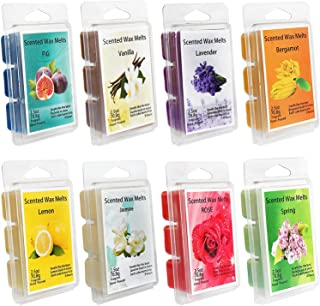 Howemon Scented Wax Melts -Set of 8 (2.5 oz) Assorted Wax Warmer Cubes/Tarts - Lemon, Fig, Lavender, Spring Fresh,Rose ,Jasmine,Vanilla,Bergamot