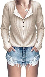 GOLDSTITCH Women's Knit Tunic Tops Loose Long Sleeve Button Up V Neck Henley Shirts
