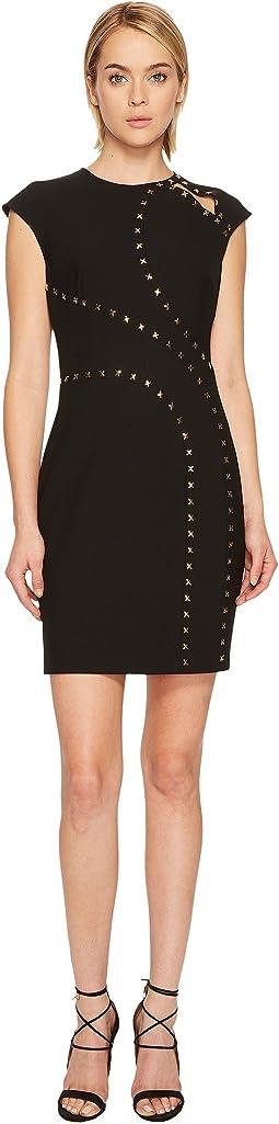 Versace Collection - Studded Cap Sleeve Slit Dress