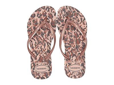 Havaianas Kids Slim Animals Flip Flops (Toddler/Little Kid/Big Kid) (Ballet Rose) Girls Shoes