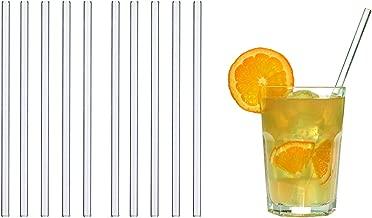 6 Unidades, Incluye Cepillo de Limpieza de sisal, pl/ástico, 23 cm Pajitas curvadas Color Plateado EcoYou Glas