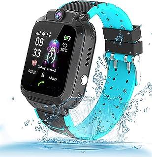 Themoemoe Kids Smartwatch, Kids GPS Tracker Watch Kids Waterproof Smart Watch Phone GPS Tracker with SOS Two Way Call (Black)