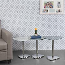 Home Centre Enzo Nest of Tables- 3 Pcs (Metal,Silver)