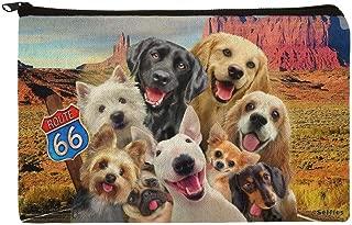 Route 66 Southwest Dogs Selfie Lab Retriever Westie Makeup Cosmetic Bag Organizer Pouch